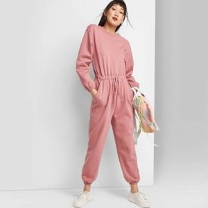 Wild fable long sleeve fleece jumpsuit